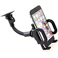 Samsung Galaxy J7 V (2017) Compatible Car Mount Windshield Holder Swivel Cradle Stand Window Glass Dock Strong Suction Gooseneck