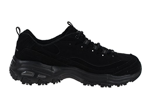 Skechers Sport Women's D'Lites Play on Memory Foam Lace-up Sneaker,Black/Black,6 W US