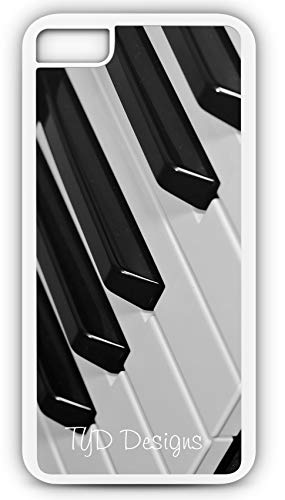 iPhone 7 Case Piano Keyboard Keys White Black Play Sing Customizable by TYD Designs in White Plastic