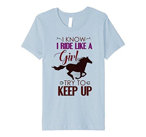 (Kids Horse Riding, Horseback Riding, Horse Lovers Cute T Shirt 8 Baby Blue)