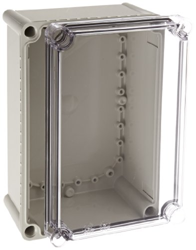 BUD Industries NBD-10462 Style D Plastic Indoor Box with Clear Door, 11-1/64'' Length x 7-15/32'' Width x 5-1/64'' Height, Light Gray Finish by BUD Industries