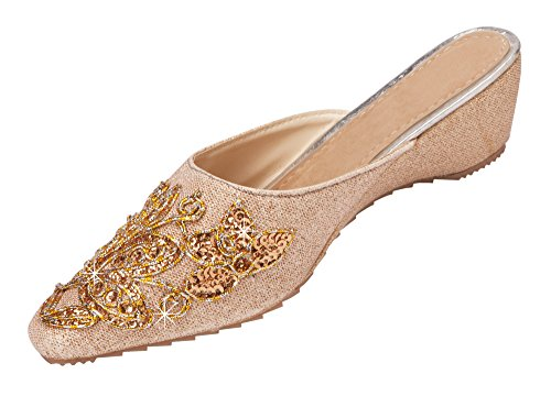Women's Embroidered Pointed Toe Slip-on Mules 10 B(M) US (Kitten Mule)