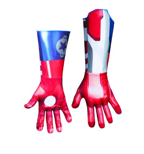 Disguise Marvel Iron Man 3 Iron Patriot Deluxe Adult Gloves Costume Accessory, Blue/Red, One Size Adult
