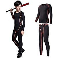 Tesuwel 2/3/4/5 Pcs Boys Girls Athletic Compression Pants and Shirts Base Layer Thermal Underwear Set Running Tights Leggings