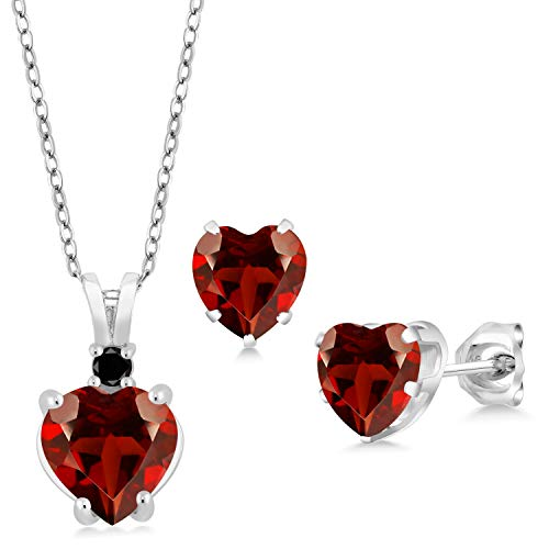 Gem Stone King 3.67 Ct Heart Shape Red Garnet 925 Sterling Silver Pendant Earrings Set