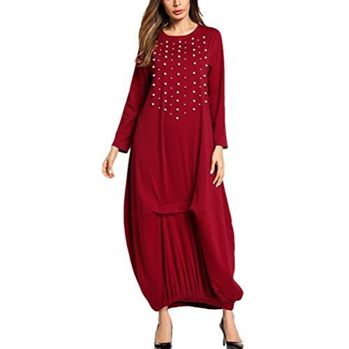 Abiti Abito Maxi Festa Donne Tunica 1 Zhuhaitf Elegante per Kaftan Kimono Indossare Lusso Rosso Vestiti Musulmano Lungo PF1qwdC