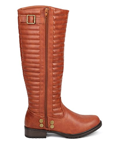 Liliana DC44 Boot Ribbed Cognac High Motorcycle Leatherette Women Knee Belted qqraHpUn