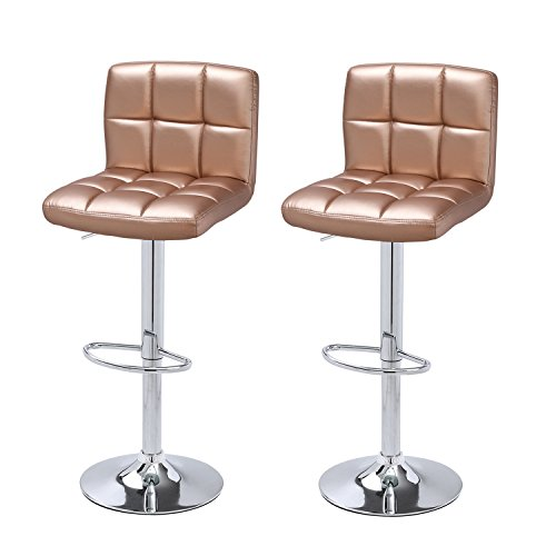 DecentHome Faux Leather Tufted 360 Degree Swivel Adjustable Barstool Chairs (Living Room Metal Bar Stool)