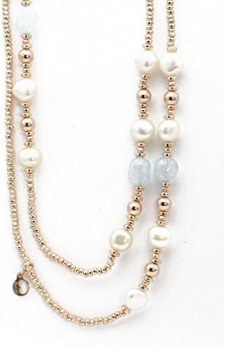 LE LUNE Collar Colgante Plata Dorada con Perlas Blancas LGNK103.2