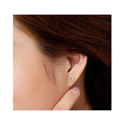 Boucles d'oreilles petit pied argent 925