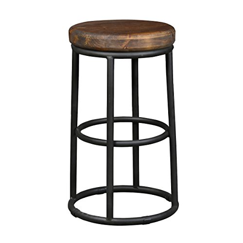 Wood and Iron Counter Stool - Black/mahogany brown Counter Stool Wood Kitchen Seat Height Swivel Bar Leather Furniture Svitlife ()
