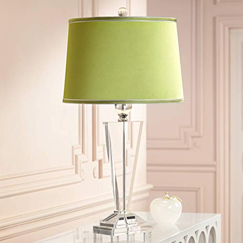 Modern Table Lamp Crystal Glass Trophy Olive Green Satin Drum Shade for Living Room Family Bedroom Bedside - Vienna Full Spectrum ()