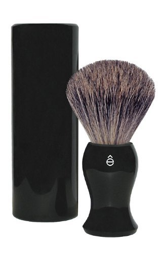 eShave Fine Badger Hair Travel Shaving Brush, Black
