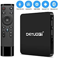 Android TV Box, Detuosi 2018 Latest Model DTS-1 Android 7.1 TV Box Vocie Remote 2GB RAM 16GB ROM S905W Quad Core A53 Processor 64 Bits Bluetooth 4.0