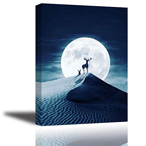 Tku's Bright Full Moon Blue Night Sky Wall Art, Deer and Rabbit Animals On Sand Dunes in Desert Canvas Painting, Quiet and Peaceful Star Picture for Bedroom Home Decor (Waterproof, ()