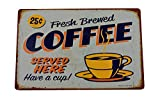 K&H Fresh Brewed Coffee Retro Metal Tin Sign Posters Kitchen Café Diner Restaurant Wall Decor 12X8-Inch