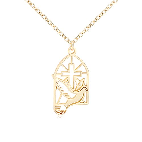 SENFAI Gold Color Cross Dove Religious Pendant Necklace (Dove Cross Necklace)