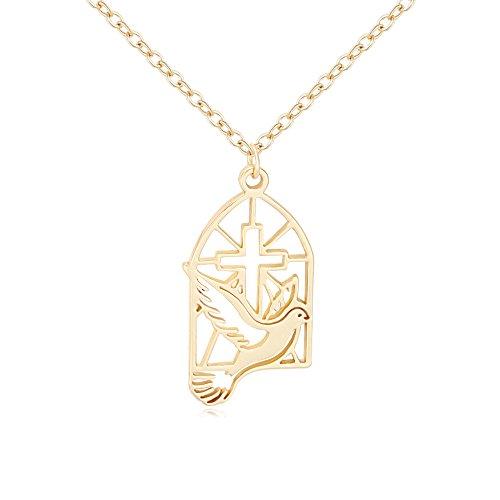 SENFAI Gold Color Cross Dove Religious Pendant Necklace (Gold)