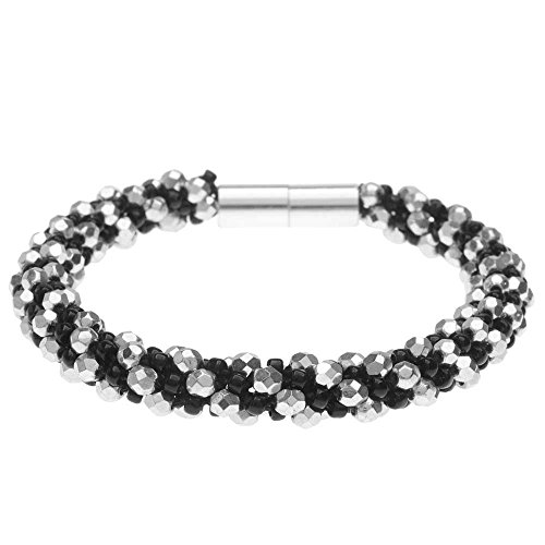 - Beadaholique Deluxe Spiral Beaded Kumihimo Bracelet - Black and Silver - Exclusive Jewelry Kit