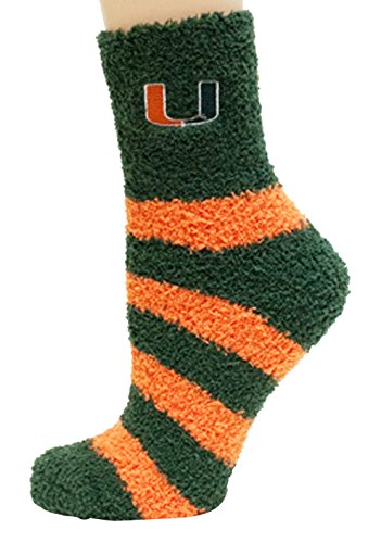 Donegal Bay NCAA Miami Hurricanes Striped Fuzzy Socks, One Size, Green