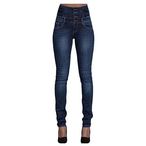 Bestgift Women's High Waist Denim Long Pants Strech Cotton Jeans for sale