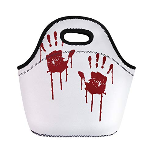 Semtomn Lunch Tote Bag Red Blood Bloody Scary Hands Handprint Abstract Creepy Crime Reusable Neoprene Insulated Thermal Outdoor Picnic Lunchbox for Men Women ()