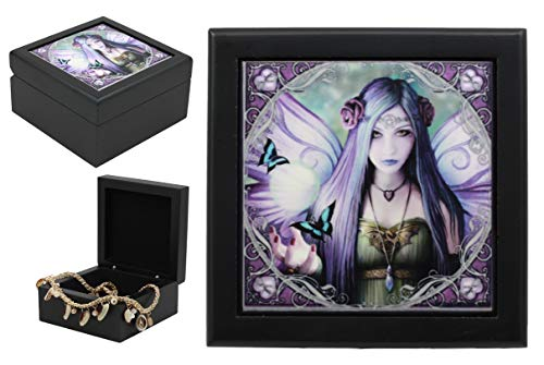 Ebros Mystic Aura Magical Gothic Fairy With Butterfly Art Tile Wooden Jewelry Box With Hinge By Anne Stokes Trinket Storage Organizer For Women Girls ()