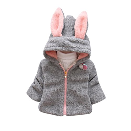 Gift!! Baby Infant Girls Winter Warm Zip Up Coat Hooded Jacket Thick Rabbit Pattern Hoodie (9M, Gray)