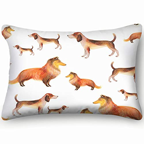 X-Large Watercolor Pattern Sheltie Shetland Sheepdog Animals Wildlife Dog Outdoor Pillow Covers for Bed Sofa Decorative Accent Pillow Case 16 X 24 Inch