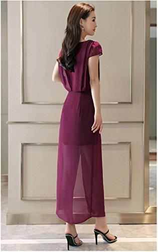 Donne Rosso Vestiti Delle `s Colore Di Corta Cotyledon Manica Scollo Solido Dividere EqPgW5