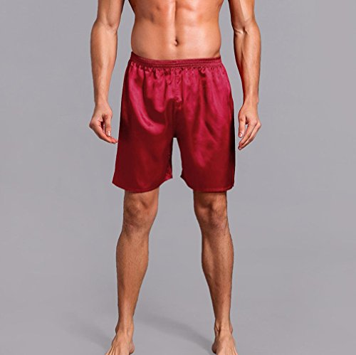 Pervobs Men Shorts Men's Shorts Silk Satin Pajama Sleepwear Homewear Robes Shorts Loungewear Underwear (2XL, Red) by Pervobs Men Shorts (Image #3)