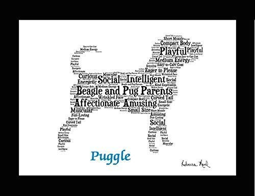 (Puggle Dog Wall Art Print - Personalized Pet Name - Gift for Her or Him - 11x14 matted - Ships 1 Day )