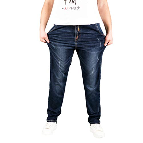 TANLANG♥ Men Summer Pants Casual Long Skate Board Stright Fashion Pocket Plus Size Jeans Big & Tall Loose-fit Stretch Jean Navy