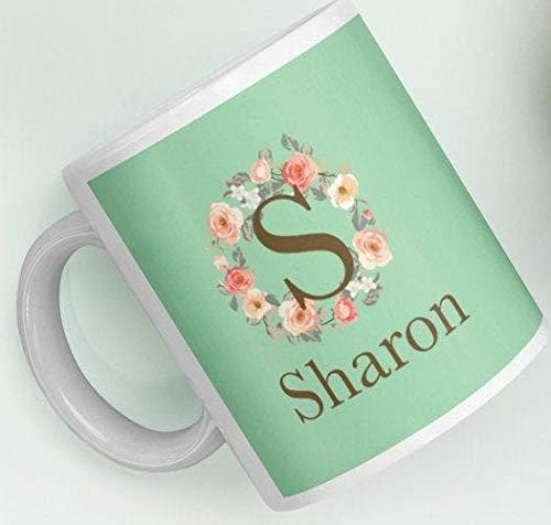 Customizable Gift Mug Personalized Custom Initial S Rose Floral Wreath Monogram Green