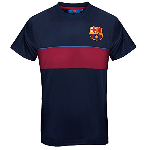 Fc Training Kit (FC Barcelona Official Gift Mens Poly Training Kit T-Shirt Navy Stripe XL)