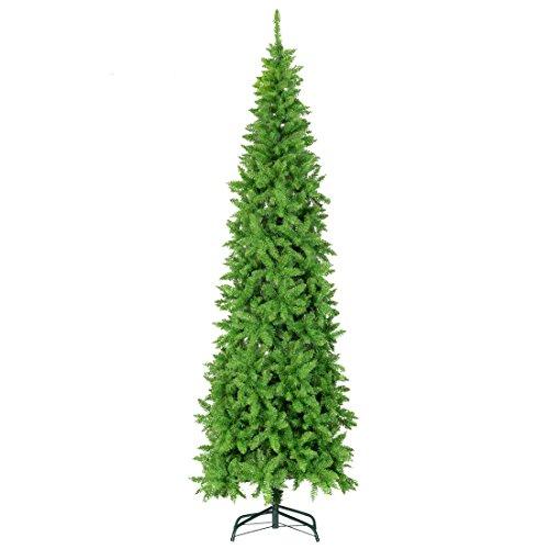 - GOOD LIFE 1250 Tips 7.5 FT Premium Hinged Artificial Slim Christmas Trees Narrow Fir Spruce Tree Pencil Tree With Solid Metal Legs Full Tree Tender Green SEA044
