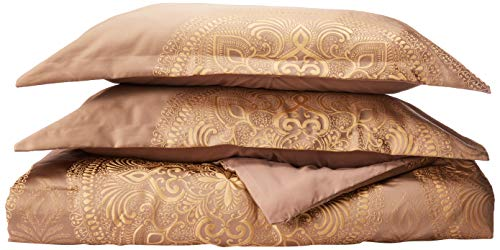 Beige Jacquard Comforter - Chic Home 9 Piece Orchard Place Faux Silk Luxury Large Medalion Jacquard with Embroidery Details and Trims King Comforter Set Gold