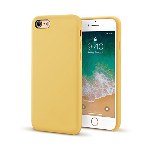for iPhone 6/6s case, Ultra Thin Liquid Silicone Gel Rubber Shockproof Case and Slim Soft Touch Microfiber Cloth Lining Cushion for iPhone 6/6s (Yellow)