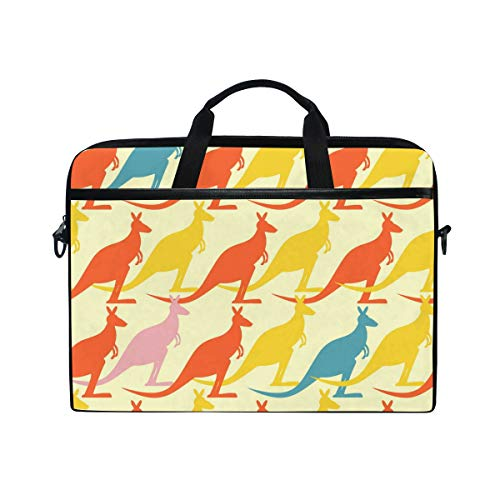 HUZK Mens Womens Colorful Kangaroo Laptop Bag Messenger Bag Satchel Shoulder Bag Multi-Functional Laptop Sleeve Business College Briefcase