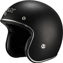 GLX Scooter Bobber Cruiser Open Face Motorcycle Helmet (Matte Black, Medium) (DOT 3/4 Euro Retro)