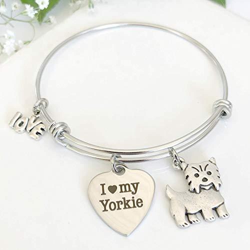 Yorkie Bracelet Charm Bangle for Yorkshire Terrier Owners Gift for Dog Mom - Small-Med ()