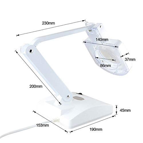 B/H Lupa Iluminada Lente de Cristal,Lampara de Mesa Plegable, Lupa de Belleza-estandar Europeo 220V,Lampara de Aumento LED con Abrazadera
