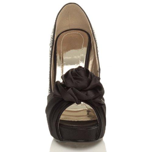 Damen Hohe Absatz Hochzeit Braut Strass Blume Peep Toe Plateauschuhe Pumps Sandalen Größe Schwarz