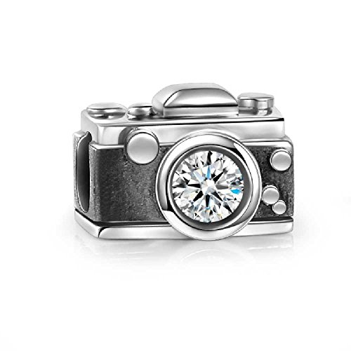 Vintage Camera Charm 925 Sterling Silver Crystal Bead Fit European Brand Charms - Vintage 14k Charm
