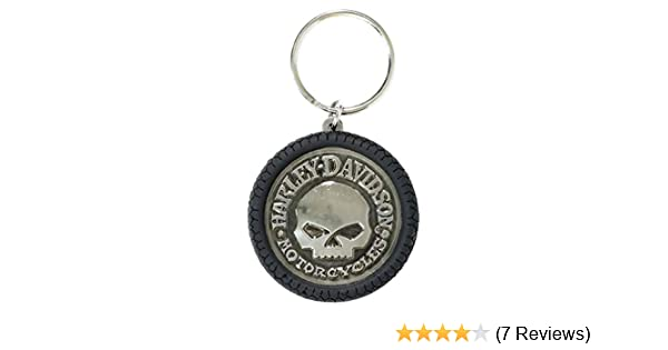 Harley-Davidson Willie G Skull Hubcap Keychain, Nickel Plated & PVC KY102975