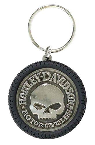- Harley-Davidson Willie G Skull Hubcap Keychain, Nickel Plated & PVC KY102975