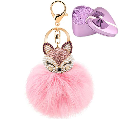 JOUDOO Fluffy Fur Ball Keychain With Gift Box Fox Head Pom Pom Keyring GJ020 (pink 1) ()