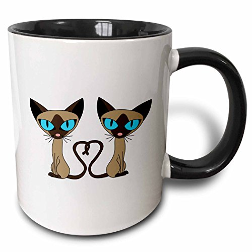 3dRose 110726_4 Siamese Cat Tail Heart Two Tone Black Mug, 11 oz, White