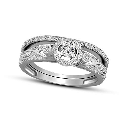 100% Pure Diamond Ring Friendly Diamonds 0.44 ct Diamond Ring 925S Sterling Silver Round Cut SI-GH Quality Real Diamond Ring For Women (3/8 ct, Diamond Ring) (Jewelry Gift For Women) ()
