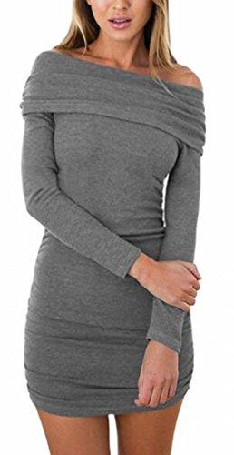 Jaycargogo Hors Épaule Des Femmes De Chandail À Manches Longues Moulante Gris Mini Robe